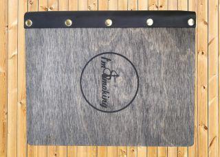 Создание деревянной папки меню для кальянной I am Smoking
